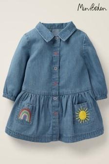 Boden Blue Woven Shirt Dress