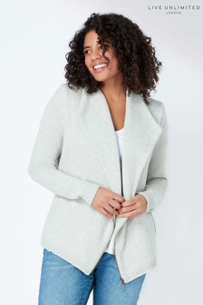 Live Unlimited Grey Knitted Biker Jacket