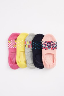 Patterned Invisible Socks 5 Pack