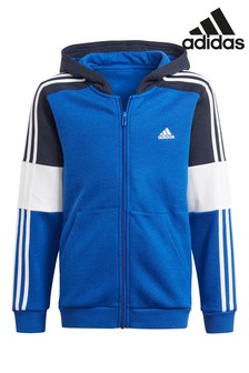 adidas Blue Block Zip Through Hoodie