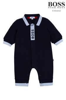 BOSS Navy Logo Sleepsuit