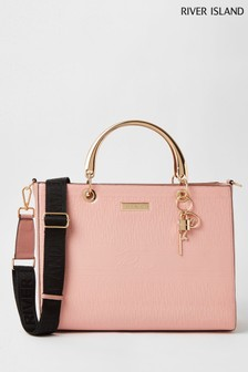 River Island Pink  Embossed Large Monogram Tote Bag
