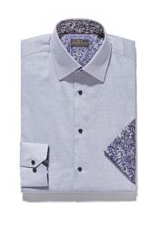Signature Contrast Trim Shirt And Pocket Square Set