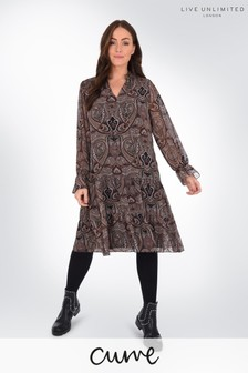 Live Unlimited Curve Paisley Tie Detail Tiered Dress