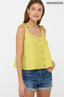 Monsoon Ladies Yellow Primrose Linen Cami