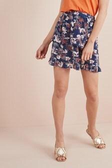 Мини-юбка с оборкой и принтом