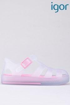 Бело-розовые полупрозрачные сандалииIgor Tenis Mc