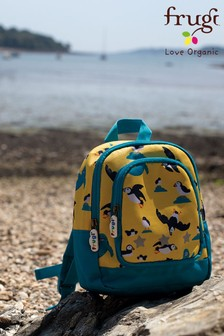 Frugi Yellow Recycled Puffin Print Small Backpack