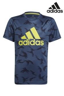 adidas Performance T-Shirt mit Camouflage-Muster, marineblau