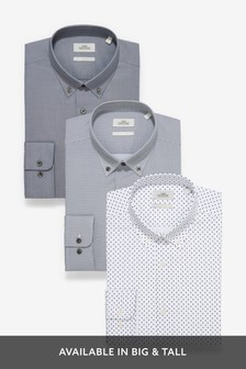 Hemden mit Struktur und Print, Dreierpack