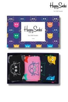 Happy Socks Multi Socks Three Pack Cat Gift Box