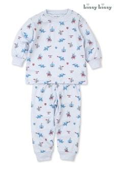 Kissy Kissy Blue Pima Cotton Mighty Dragons Pyjamas