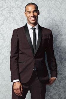 Slim Fit Check Shawl Tuxedo Suit: Jacket