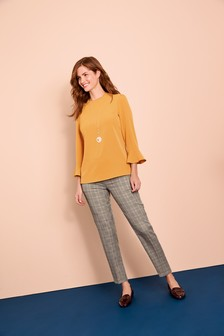 High Neck Flute Sleeve Top