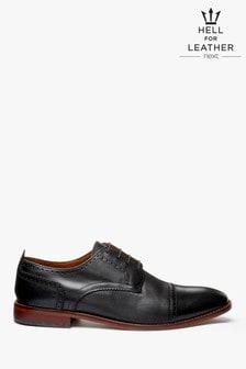Contrast Sole Leather Toe Cap Shoes