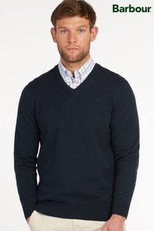 Barbour® Blue Pima Cotton V-Neck Sweater