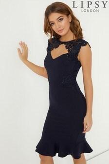 Кружевное облегающее платье с пайетками Lipsy