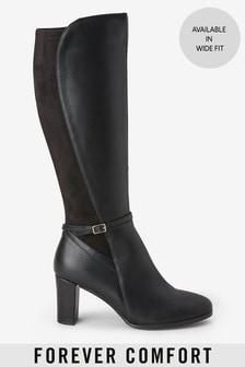 Čierne vysoké čižmy po kolená na podpätku Forever Comfort®