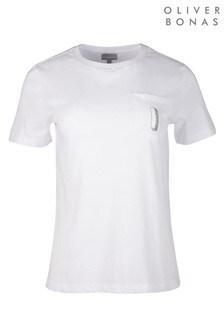 חולצת טי רקומה של Oliver Bonas דגם Alphabet בלבן