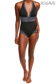 Figleaves Black/Grey Colourblock Shaping Swimsuit