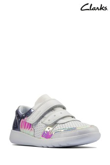 Clarks White Leather Scape Shell Trainers
