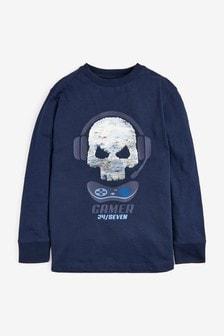 Long Sleeve Sequin T-Shirt (3-16yrs)