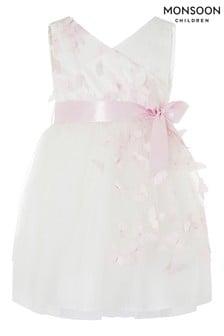 Monsoon大地色嬰兒裝3D蝴蝶連衣裙