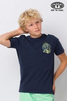 "Animal T-Shirt mit ""Slave""-Grafikprint, blau"