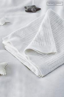 The White Company - Wit cellulair satijnen dekentje