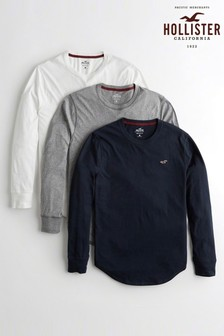 Hollister White/Grey/Navy Long Sleeve Tee Three Pack