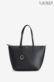 Ralph Lauren Black Vegan Leather Keaton Tote Bag