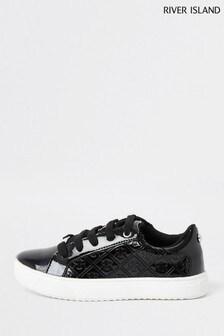 River Island Sneaker aus Lackledermit Monogramm, Schwarz