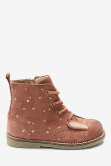 Leather Lace-Up Bunny Boots
