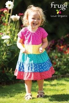 Frugi Kleid aus Biobaumwolle mit Regenbogenstreifen und Flügelärmeln