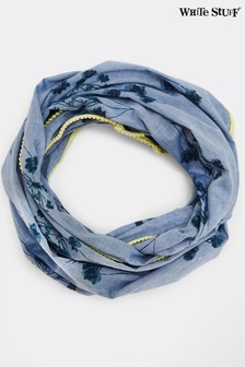 White Stuff Blurred Floral Chambray Scarf