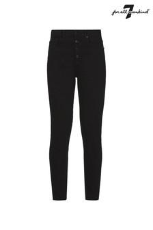 Czarne jeansy rurki z wysokim stanem 7 For All Mankind Aubrey