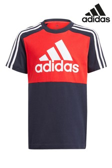 adidas Navy Block 3 Stripe T-Shirt