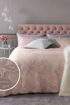 Bett- und Kissenbezug-Set mit marmoriertem Jacquardmuster