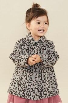 Серое полушерстяное пальто со звериным принтом (3 мес.-7 лет)