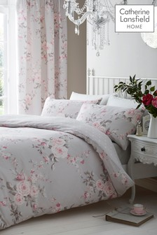 Catherine Lansfield Grey Reversible Canterbury Floral Quilted Bedspread