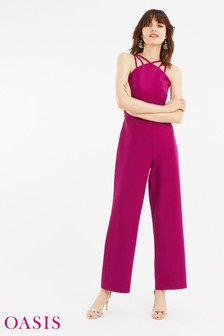 Oasis Pink Strappy Jumpsuit