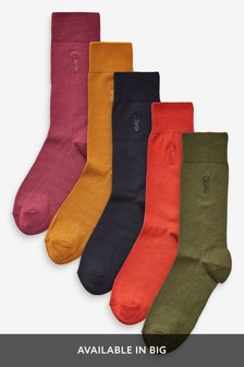 Colour Socks With Stag Embroidery Five Pack