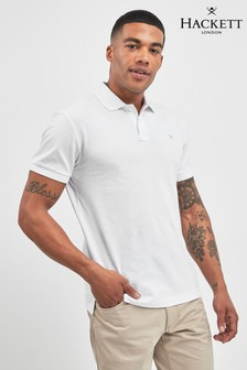 Hackett White Slim Fit Logo Short Sleeve Polo