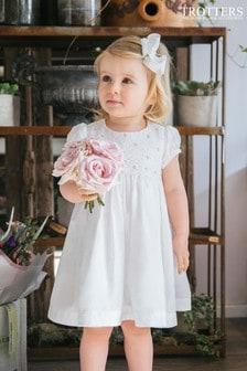 Trotters London白色玫瑰手工罩衫式連身裙