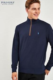Ralph Lauren Polo Golf Navy Zip Neck Jumper