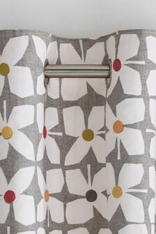 Шторы с геометрическим цветочным рисунком в стиле ретро, люверсами и подкладкой