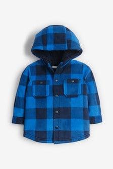 Флисовая куртка-рубашка в клетку с капюшоном (3 мес.-7 лет)