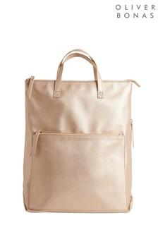 Oliver Bonas Baden Metallic Gold Rectangular Backpack