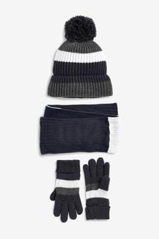 Вязаный комплект из шапки, шарфа и перчаток с полосками (Подростки)