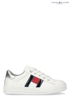 Tommy Hilfiger White Flag Laced Trainers
